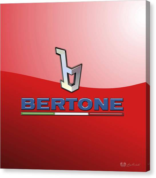 Automobiles Canvas Print - Bertone 3 D Badge On Red by Serge Averbukh