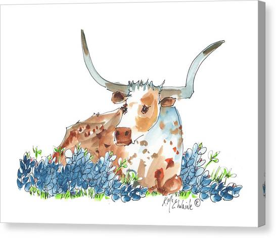 Bessie In The Bluebonnets Watercolor Painting By Kmcelwaine Canvas Print