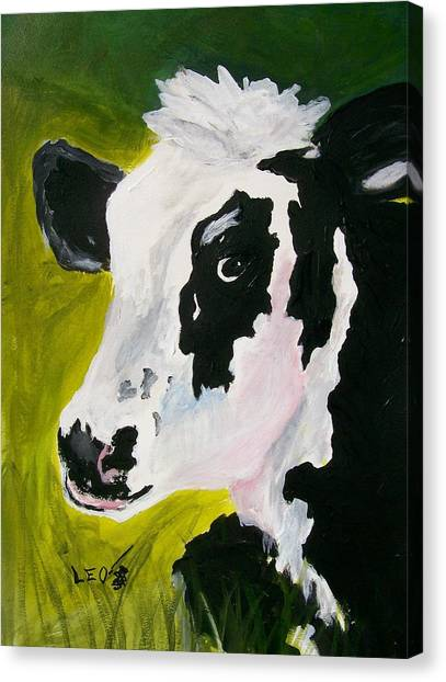 Farm Animals Canvas Print - Bessy The Cow by Leo Gordon