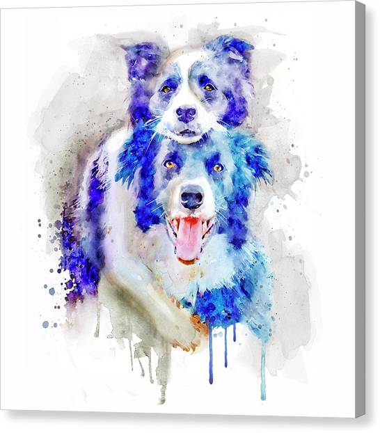 Border Collies Canvas Print - Best Buddies by Marian Voicu