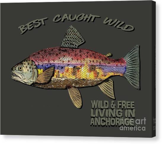 Fishing - Best Caught Wild-on Dark Canvas Print