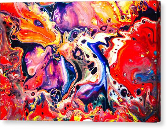 Best Friends  - Abstract Colorful Mixed Media Painting Canvas Print