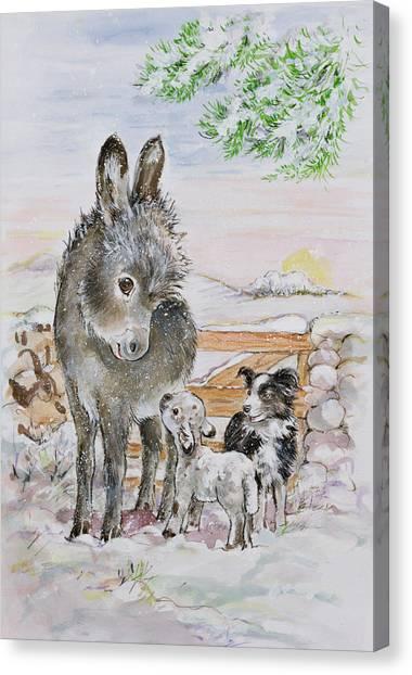 Collie Canvas Print - Best Friends by Diane Matthes