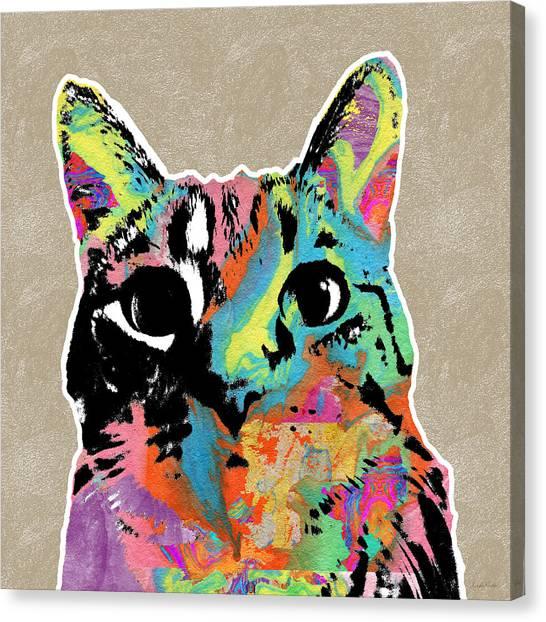 Tie-dye Canvas Print - Best Listener Kitty- Pop Art By Linda Woods by Linda Woods