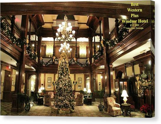 Best Western Plus Windsor Hotel Lobby - Christmas Canvas Print