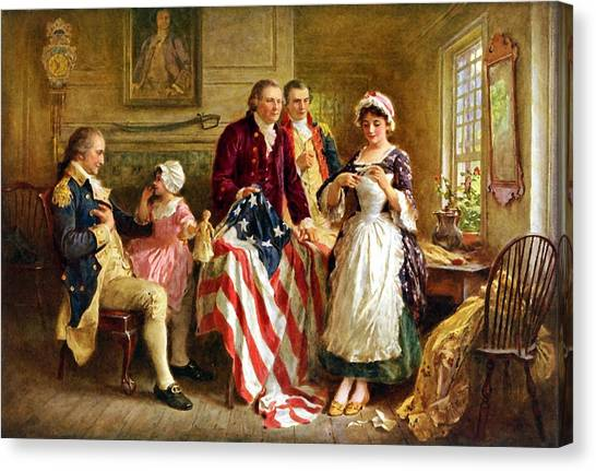 Flag Canvas Print - Betsy Ross And General George Washington by War Is Hell Store
