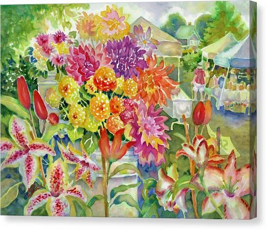 Betsy's Dahlias II Canvas Print