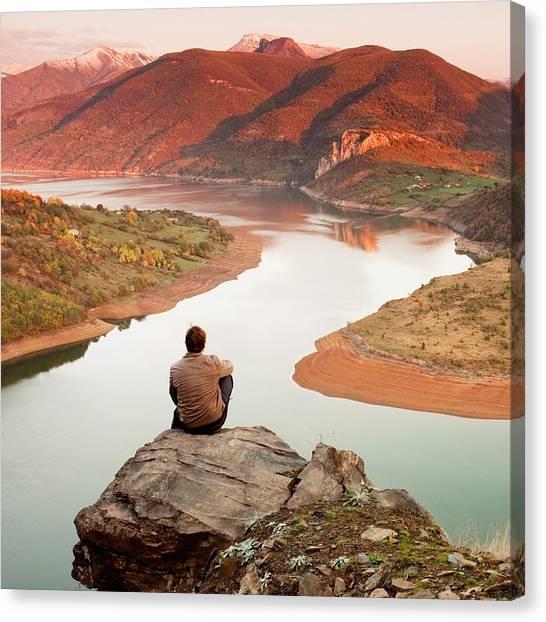 Lake Sunrises Canvas Print - Between Seasons by Evgeni Dinev