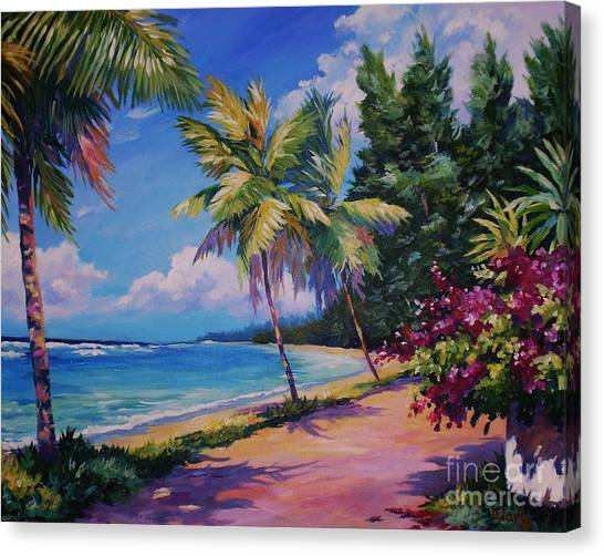 Bahamas Canvas Print - Between The Palms 20x16 by John Clark