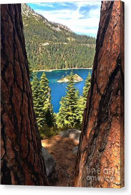 Lake Tahoe Canvas Print - Between The Pines by Krissy Katsimbras