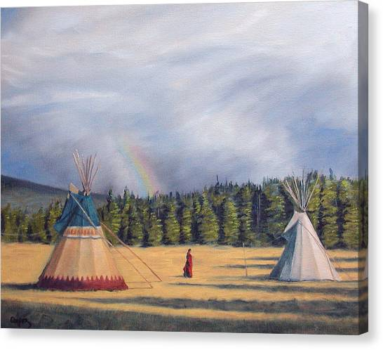 Between Two Lodges Canvas Print