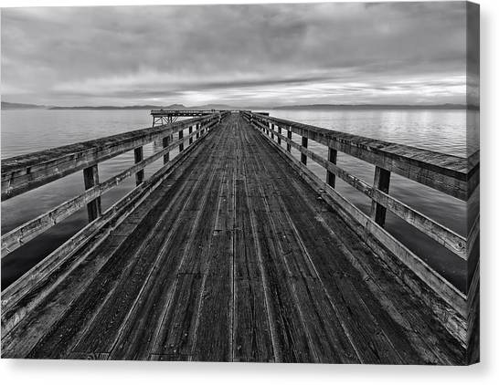 Vancouver Island Canvas Print - Bevan Fishing Pier - Black And White by Mark Kiver