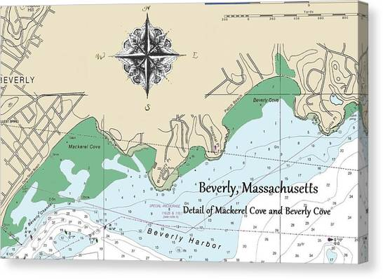 Beverly Cove Nautical Map Canvas Print