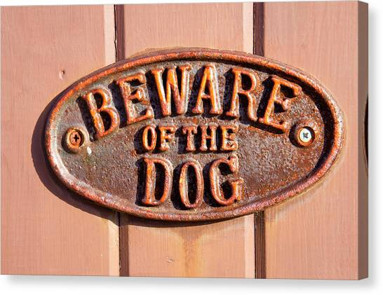 Chain Link Fence Canvas Print - Beware Of The Dog by Tom Gowanlock