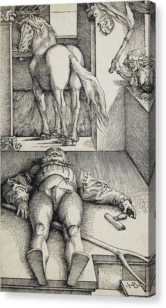 Unconscious Canvas Print - Bewitched Groom by Hans Baldung Grien