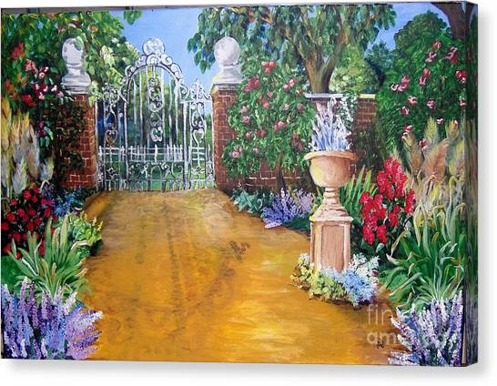 Canvas Print featuring the painting Beyond The Gate by Saundra Johnson