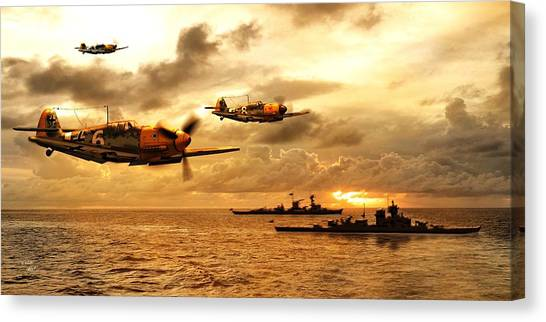 Ocean Sunrises Canvas Print - Bf 109 German Ww2 by John Wills