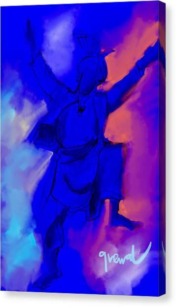 Sikh Art Canvas Print - Bhangra Dancer Blue Painting  by Sukhpal Grewal