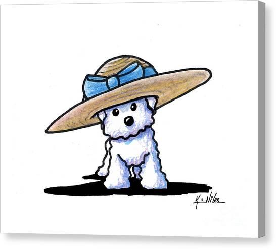 Bichon In Hat Canvas Print