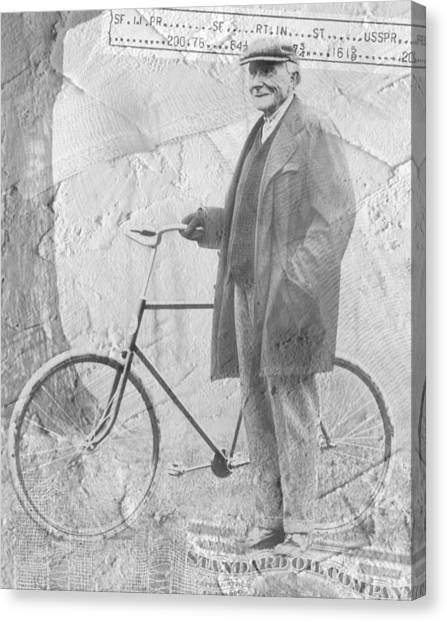 Bicycle And Jd Rockefeller Vintage Photo Art Canvas Print