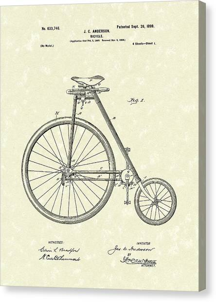 Bicycle Canvas Print - Bicycle Anderson 1899 Patent Art by Prior Art Design