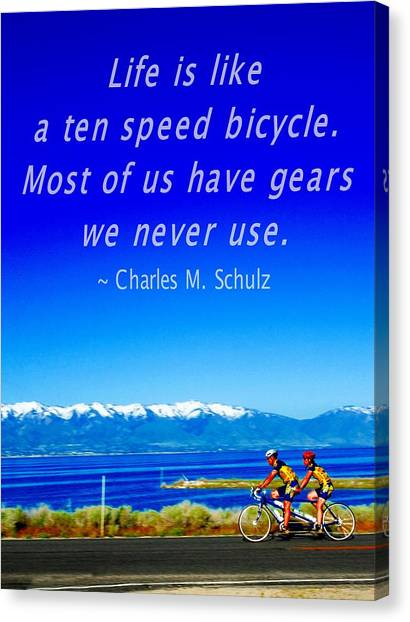 Bicycle Charles M Schulz Quote Canvas Print