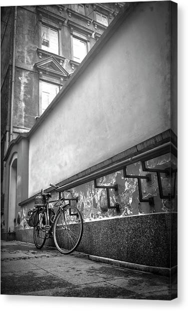 Eastern Europe Canvas Print - Bicycle In Warsaw Poland In Black And White  by Carol Japp
