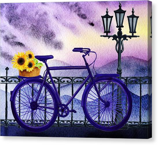 Irina Canvas Print - Blue Bicycle And Sunflowers By Irina Sztukowski  by Irina Sztukowski
