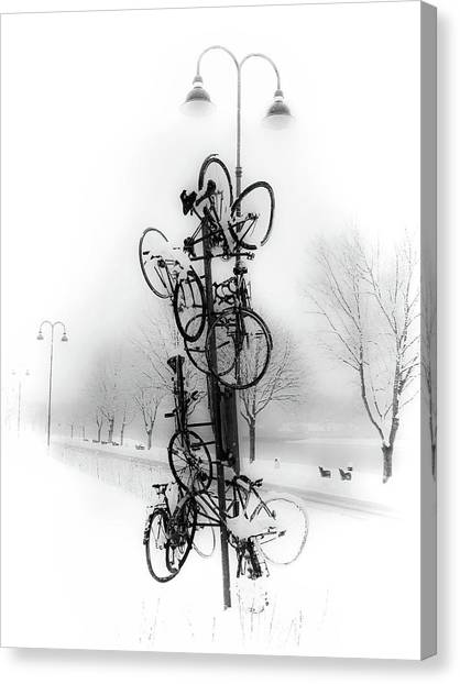 Bicycle Lamppost In Winter Canvas Print