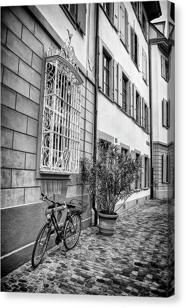 Push Canvas Print - Bicycle On A Cobbled Street In Basel  by Carol Japp