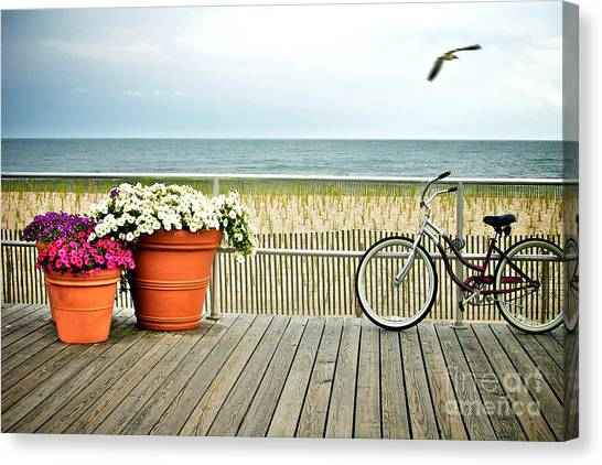 Bicycle On The Ocean City New Jersey Boardwalk. Canvas Print by Melissa Ross