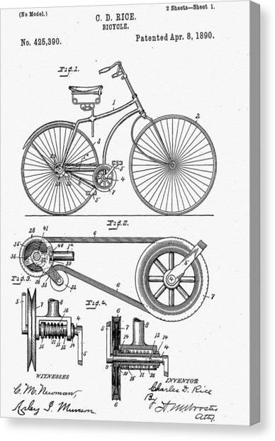 Bicycle Canvas Print - Bicycle Patent 1890 by Bill Cannon