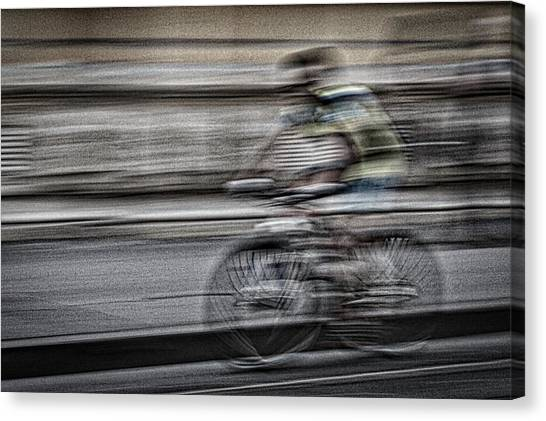 Bicycle Rider Abstract Canvas Print