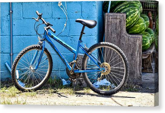 Bicycle With Watermelons Canvas Print