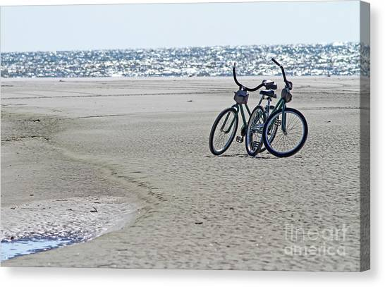 Bicycles On The Beach Canvas Print