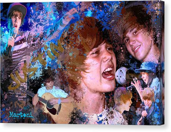 Bieber Fever Tribute To Justin Bieber Canvas Print by Alex Martoni