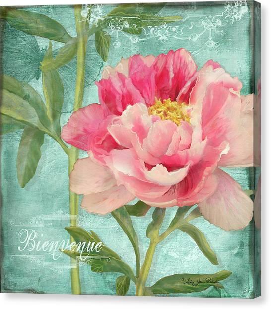 Bienvenue - Peony Garden Canvas Print