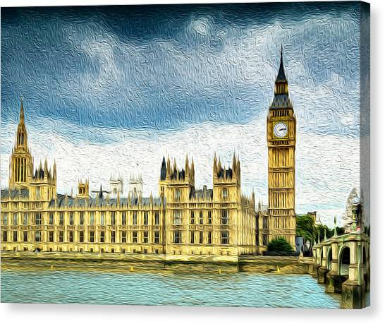 Big Ben And Houses Of Parliament With Thames River Canvas Print