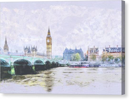 Big Ben And Westminster Bridge London England Canvas Print