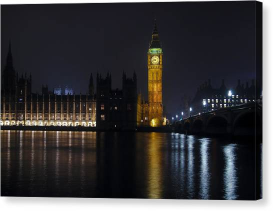 Palace Of Westminster Canvas Print - Big Ben At Night by Andrew Soundarajan