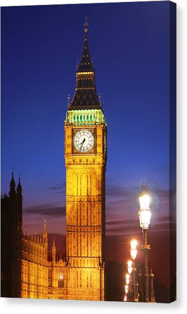 Big Ben At Night Canvas Print by Dan Breckwoldt