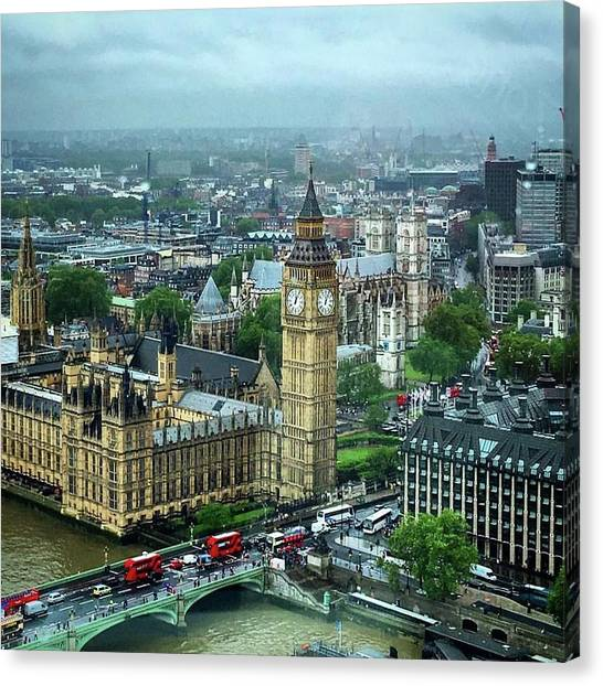 Westminster Abbey Canvas Print - Big Ben From The London Eye by Nancy Ann Healy