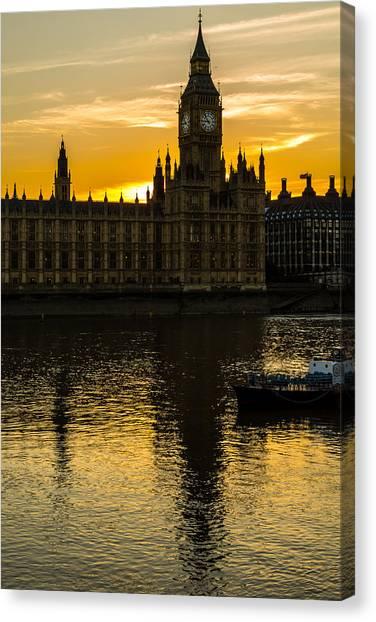 Big Ben Tower Golden Hour In London Canvas Print