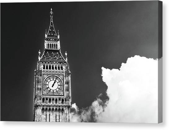 Palace Of Westminster Canvas Print - Big Ben Tower London Bw by Mihaela Pater