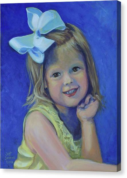 Canvas Print featuring the painting Big Bow Little Girl by Jeanette Jarmon