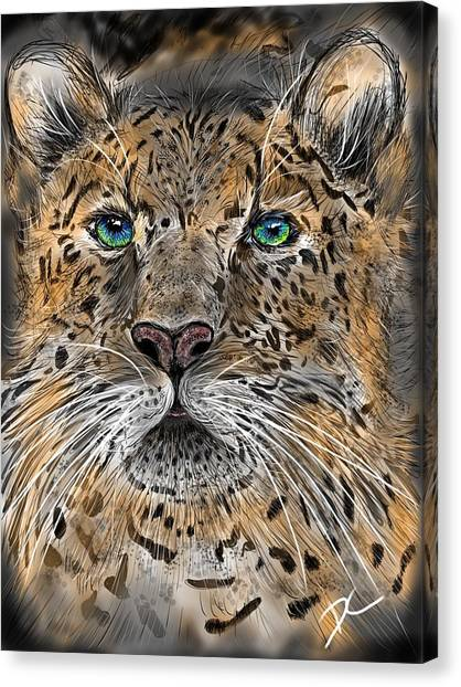 Canvas Print featuring the digital art Big Cat by Darren Cannell