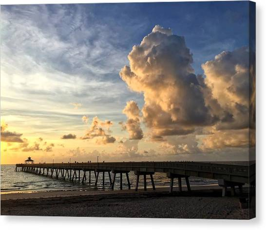Big Cloud And The Pier, Canvas Print
