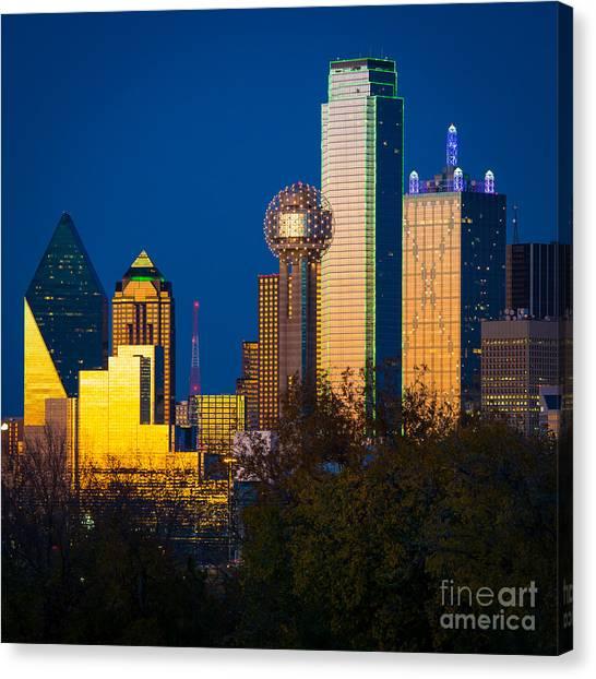 Dallas Skyline Canvas Print - Big D Up Close by Inge Johnsson
