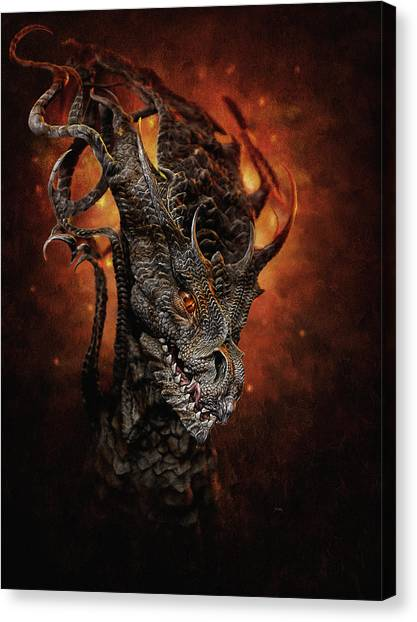 Canvas Print featuring the digital art Big Dragon by Uwe Jarling