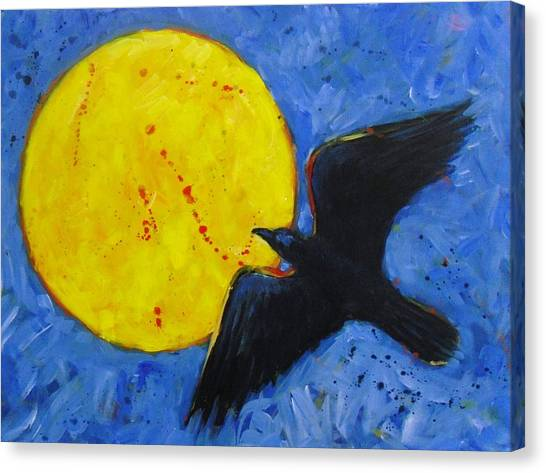 Big Full Moon And Raven Canvas Print